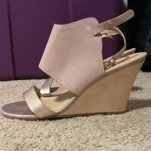 Rose gold wedge sandals